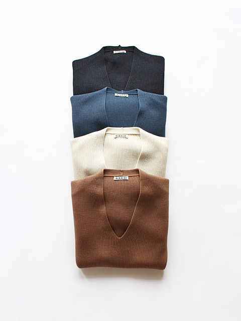 AURALEE (オーラリー) SUPER FINE WOOL RIB KNIT V NECK P/O