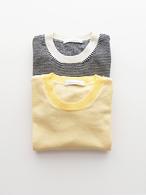 PHEENY(フィーニー)  Ringer's neck S/S  border knit