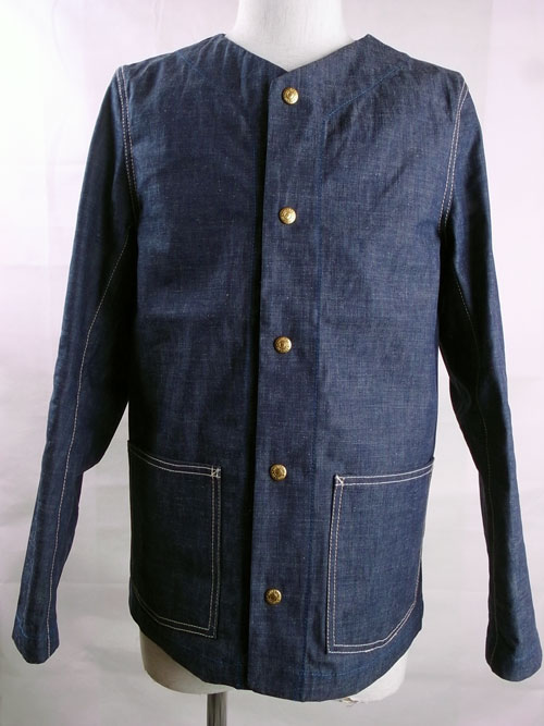 ANDFAMILY /アンドファミリー COLLAR LESS DENIM JACKET