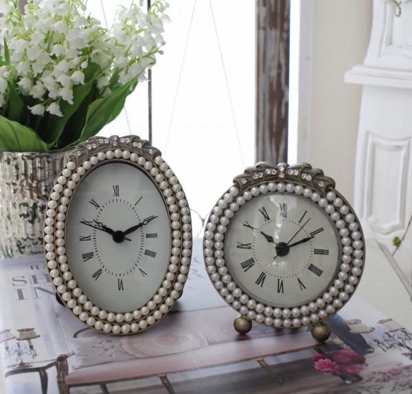 リボンパールの置時計♪ (ラウンド・オーバル) アンティーク風 シャビーシック フレンチカントリー テーブルクロック リボンモ