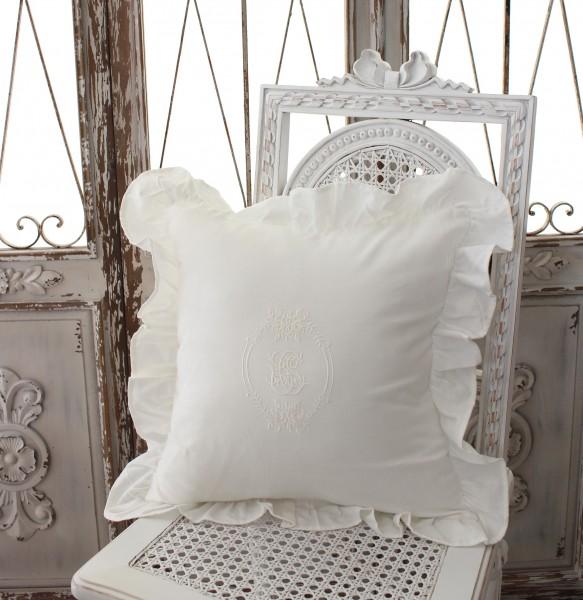 フランスから届くフレンチリネン(クッション・フリルホワイト) 中綿(パンヤ付き) 【Blanc de Paris】  クッション 40