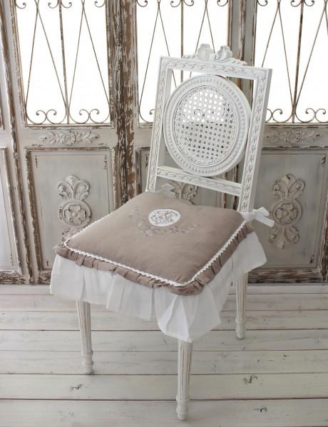 フランスから届くフレンチリネン(チェアパッド・グレージュ×ホワイト) 中綿(パンヤ付き) 【Blanc de Paris】 クッション