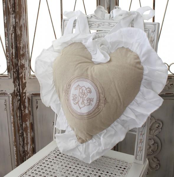 フランスから届くフレンチリネン ハート型 背クッション(ベージュ) 中綿(パンヤ付き) Blanc de Paris モノグラム刺繍 シャビ