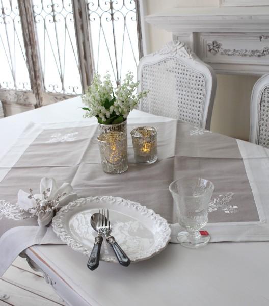 フランスから届くフレンチリネン テーブルクロス 85cm角 (グレイ×ホワイト) 【Blanc de Paris】 トップクロス モノグラム刺繍