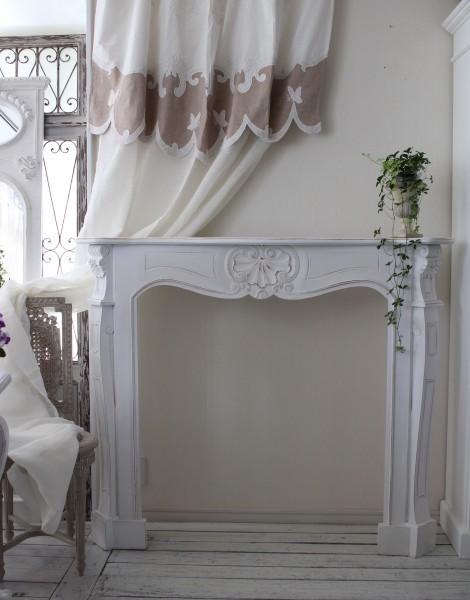 マントルピース (ホワイト) 【Blanc de Parisシリーズ】 暖炉 コンソール シャビーシック アンティーク風 フレンチカン