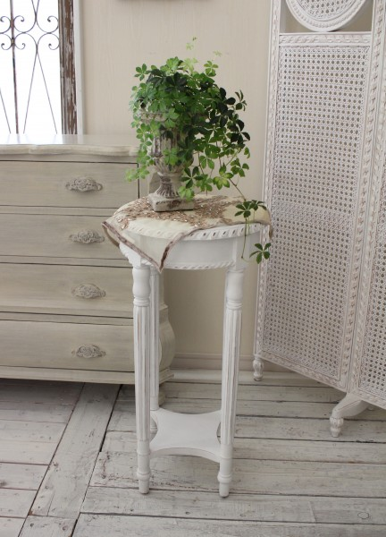 NEW♪ フランス家具 ラウンドテーブル・アンティークホワイト(花台・飾り台) 木製 シャビーシック アンティーク調 フレンチ