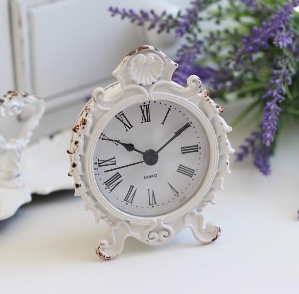 シャビーホワイトの置時計 シェルクロック♪ 置時計 小型 白色 シャビーシック フレンチカントリー アンティーク 雑貨 アンティー