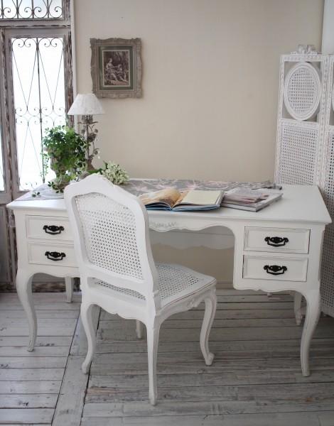 NEW♪ カントリーコーナー 【Country Corner】 ROMANCE ロマンス・コレクション 猫脚デスク(4引出し) 白家具 フランス パソコ