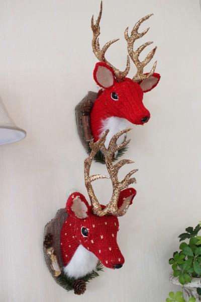 クリスマスオーナメント♪ (ウィールディアヘッド 鹿・2種) 鹿の壁飾り シャビーシック 北欧 フレンチ ロマンティック