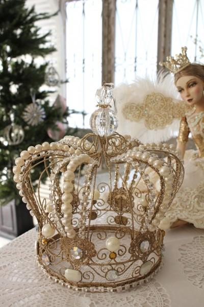 クリスマスオーナメント♪ (トレジャーキングクラウン 王冠) 置物 シャビーシック フレンチ ロマンティック 可愛い ク