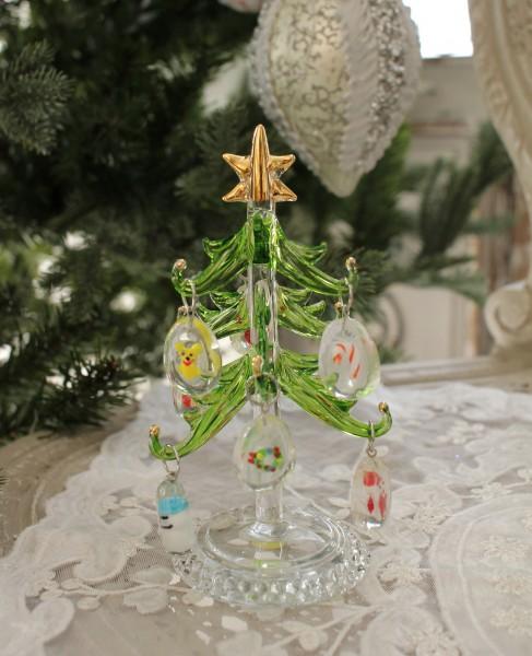 ★SALE★ クリスマスオーナメント♪ (ガラスツリー・ドロップオーナメント) 小型ツリー 置物 オブジェ クリスマスツリ