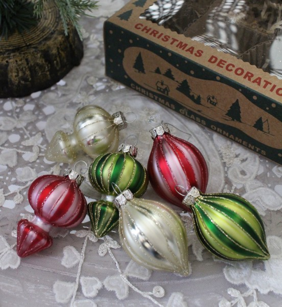 ★SALE★ クリスマスオーナメント♪ (ミニグラスフィニアルオーナメント6個セット・ガラスオーナメント) 小型 置物 オ