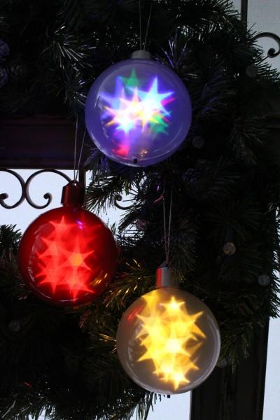 ★SALE★ クリスマスオーナメント♪ 【スターホログラムボウル・3色】 LED 点滅 タイマー付き クリスマスリース シ