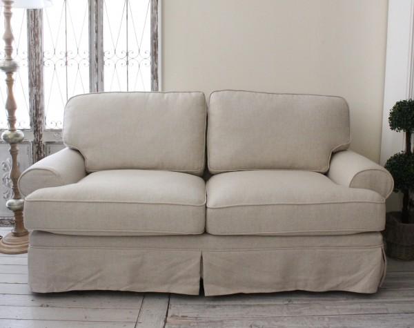 シャビーシックソファ 2Pソファ(ロータイプ) 2人掛け リネンベージュ フレンチカントリー sofa アンティーク 輸入家具