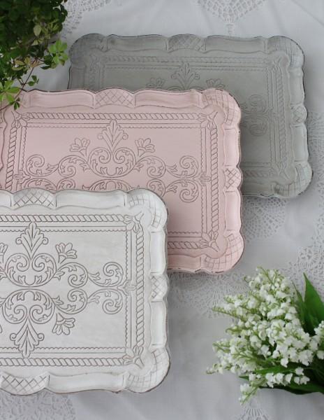 ♪大人気♪ シャビーな雰囲気のフレンチトレイ Lサイズ ホワイト ピンク ブルーグレー アンティーク風 antique アンティーク デ