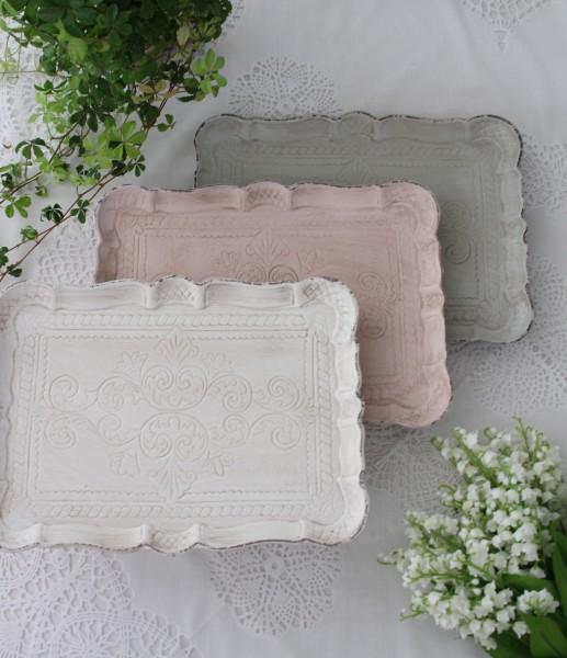♪大人気♪ シャビーな雰囲気のフレンチトレイ Mサイズ ホワイト ピンク ブルーグレー アンティーク風 antique アンティーク ディ
