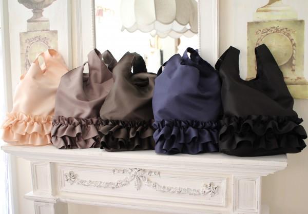 フリルサブバッグ・シュシュロング♪♪ 手提げ サブバッグ エコバッグ ポリエステル製 5色有り(ブラック、グレイ、ベージュ