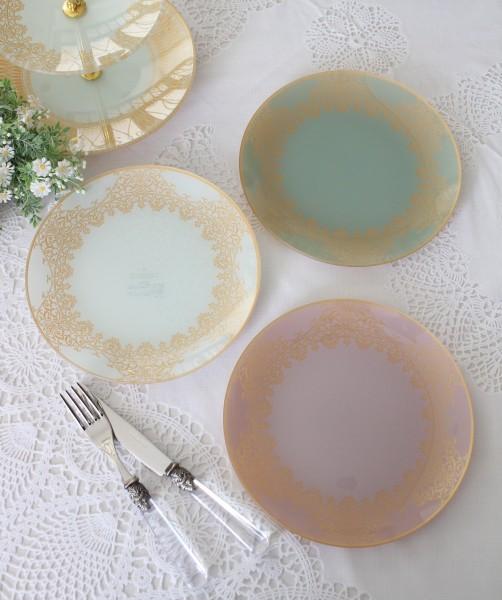 トリアノン・ガラス食器 プレート・3色 ガラス製 ケーキ皿 中皿 輸入食器 アンティーク風 アンティーク 食器 雑貨 antique