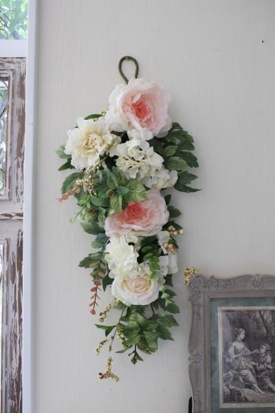 フラワーデコ・ピンクシャクヤク 造花の壁掛け 芍薬 シルクフラワー アーティフィシャルフラワー ウォールデコ 壁飾り 薔