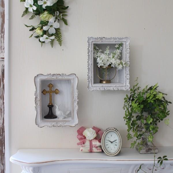 Classic Chicシリーズ♪ (ミニウォールシェルフA・B ホワイト) 壁面棚 飾り棚 壁掛け棚 シャビーシック フレンチカントリ