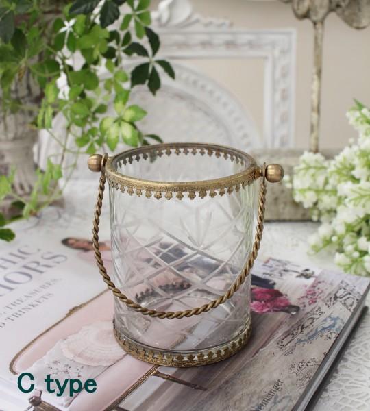 猫足のアンティークなグラスハング(取っ手付きC) 小物入れ 花瓶 ペン立て  フレンチカントリー アンティーク 雑貨 輸入