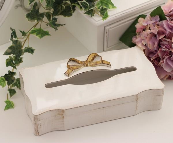 アンティーク風なイタリア製 SOLDI リボンティッシュボックス(curve) 木製 ホワイト×ゴールドリボン シャビーシック