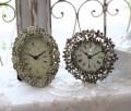 ジュエルフラワーの置時計♪ (ラウンド・オーバル) アンティーク風 シャビーシック フレンチカントリー テーブルクロック フラ