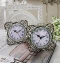 ジュエルストーンの置時計♪ (スクエア型) アンティーク風 シャビーシック フレンチカントリー テーブルクロック アンティーク