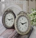 エナメルストーンの置時計♪ (オーバル型) アンティーク風 シャビーシック フレンチカントリー テーブルクロック アンティーク
