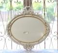 リボンミラー・鏡 イタリア製 ホワイト×ゴールド ロココ調 シャビー 壁掛けミラー オーバル型