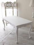 ハンドメイドのフランス家具 ダイニングテーブル(マット付き) 【Blanc de Paris】 テーブル 4人掛け シャビーシック ホワイト