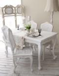 ハンドメイドのフランス家具 ダイニングセット 5点セット フラワーチェア・マット付き 【Blanc de Paris】 ダイニングテーブル