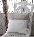 フランスから届くフレンチリネン(クッション・ホワイト×ベージュリーフ) 中綿(パンヤ付き) 【Blanc de Paris】 クッショ
