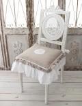 フランスから届くフレンチリネン(チェアパッド・グレー×ホワイト) 中綿(パンヤ付き) 【Blanc de Paris】 クッション 40