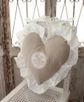 フランスから届くフレンチリネン ハート型 背クッション(グレー) 中綿(パンヤ付き) Blanc de Paris モノグラム刺繍 シャビー