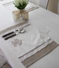 フランスから届くフレンチリネン(ランチョンマット・ホワイト×ベージュストレート) 【Blanc de Paris】 プレースマット モ