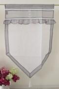 フランスから届くフレンチリネン(ウィンドウカーテン60×90・ホワイト×グレー) 【Blanc de Paris】 カフェカーテン のれ