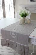フランスから届くフレンチリネン(テーブルランナー(リネングレー)) 【Blanc de Paris】 テーブルセンター モノグラム刺繍