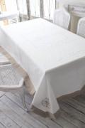 フランスから届くフレンチリネン テーブルクロス 160×250cm ナプキン付き(ホワイト×ベージュ) 【Blanc de Paris】 テーブルク