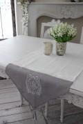 フランスから届くフレンチリネン(ホワイト×グレーリボン刺繍) 【Blanc de Paris】 テーブルセンター モノグラム刺繍 シャ