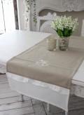 フランスから届くフレンチリネン(ベージュ×ホワイトストレート) 【Blanc de Paris】 テーブルセンター モノグラム刺繍 シ