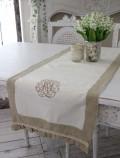フランスから届くフレンチリネン(オフホワイト×ベージュモノグラム刺繍) 【Blanc de Paris】 テーブルセンター モノグラム