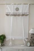 フランスから届くフレンチリネン(ウィンドウカーテン60×160・ホワイト×ベージュスカラップ) 【Blanc de Paris】 リボン
