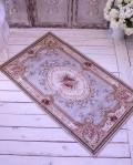 イタリア製の玄関マット・ライトブルー ゴブラン織り 【Blanc Mariclo・ブランマリクロ】 ラグマット 絨毯 シャビーシック