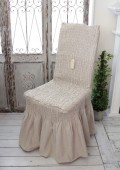 Blanc Mariclo・ブランマリクロ (Basicコレクション チェアカバー(ギャザー・ベージュ)) チェアカバー チェアパッド ク
