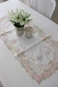 上品なリボン&ローズ刺繍がエレガント♪♪ 【テーブルセンター 40×90cm】 長方形 ドイリー センター 敷物 布製 リボン