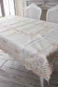 上品なリボン&ローズ刺繍がエレガント♪♪ テーブルクロス 120×160cm 長方形 敷物 布製 フレンチカントリー リボンモチーフ ヨー