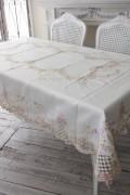 上品なリボン&ローズ刺繍がエレガント♪♪ テーブルクロス 135×190cm 長方形 敷物 布製 フレンチカントリー リボンモチーフ ヨー