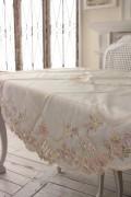 上品なリボン&ローズ刺繍がエレガント♪♪ テーブルクロス ラウンド 150cm トップクロス 円形 敷物 布製 フレンチカントリー リボ