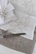 リボンモチーフのリネンランチョンマット 麻100% プレースマット 布製 シャビーシック フレンチカントリー 姫系